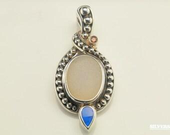 Whitney Kelly Druzy & Tourmaline, Opal Sterling Silver Pendant 1 9/10 Inch Tall