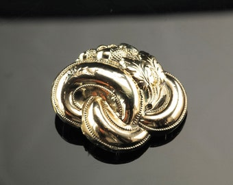 Early Victorian Gold Over Sterling Acorn Brooch Repousse Lovers Knot, slight damage