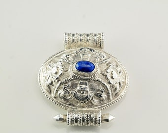 Blue Lapis Floral, Swirls, Rope Sterling Silver Pendant 1 3/5 Inch Tall Vintage
