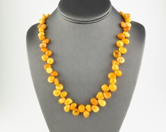 Vintage Baltic Butterscotch Amber Droplets Bead Necklace