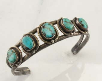 Native American Sterling Silver Cuff Bracelet Blue Turquoise Five Stone