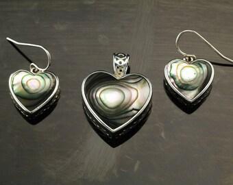 Vintage Abalone Shell  Sterling Silver Pendant Earrings Set