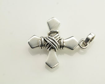 Brutalist Cross Wire Sterling Silver Pendant 1 1/5 Inch Tall Vintage