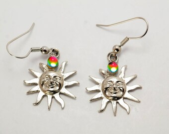 Sterling Silver Multi-colored Mystic Quartz Sun Dangle Earrings