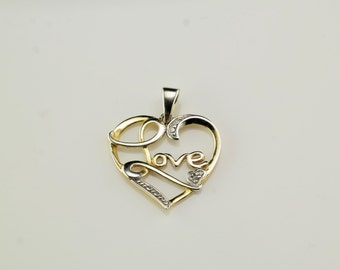 Vintage CZ Heart, Word Gold Tone Sterling Silver Pendant