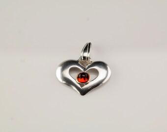 Vintage Red Quartz Heart Sterling Silver Pendant