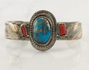 Southwest Sterling Silver Cuff Bracelet Orange, Blue Turquoise, Coral