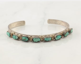 Native American Sterling Silver Cuff Bracelet Light Blue Carved Turquoise