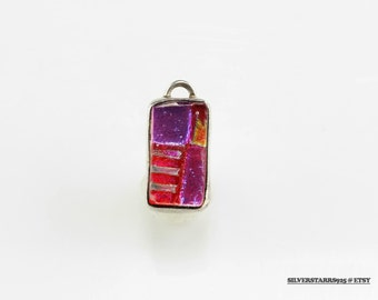 Pink, Yellow Fused Glass  Sterling Silver Pendant 2/3 Inch Tall Vintage 925