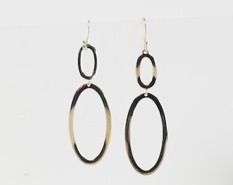 Vintage Ippolita Sterling Silver Hook Dangle Earrings Gold Gilded