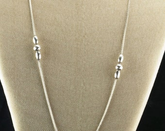 """Sterling Silver  Cascade Bead Necklace 32"""""""