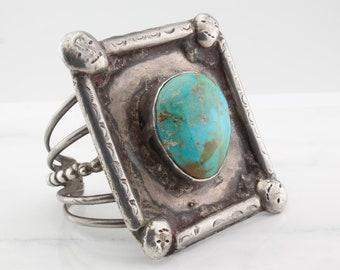 Heavy Southwest Sterling Silver Cuff Bracelet Turquoise