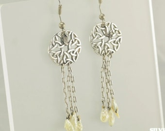 Sterling Silver White Mother of Pearl Celtic Knot Dangle Earrings