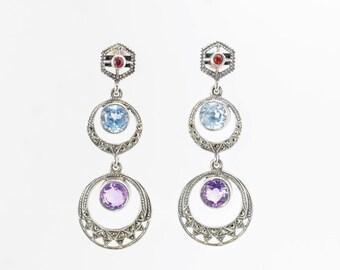 Sterling Silver Garnet & Topaz, Amethyst, Marcasite Earrings