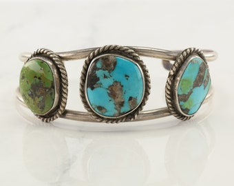 Southwest Sterling Silver Cuff Bracelet Blue, Green Turquoise