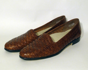 Vintage Light Brown Woven Genuine Leather Flats