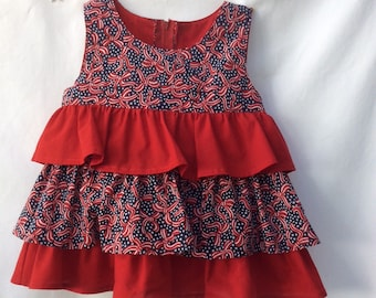 Child's Sleeveless Top- Cotton 4th of July- Red White & Blue-Handmade-Size 6 Patriotic-Handmade-Ruffles-BBClosetExpressions-Summer-Cool