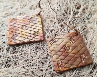 Rhombus Torch-Colored Pure Copper Earrings Hand-Made Cactus Stamp Perfect Gift