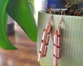 Ribbon-like Pure Copper Earrings Hand-Made Perfect Gift