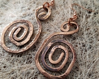Pure Copper Spiral-Shaped Earrings/ Handmade/ Perfect Gift