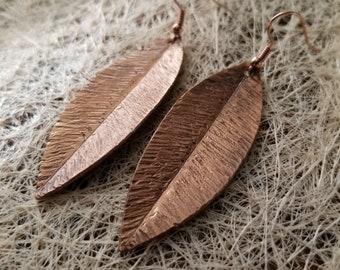 Leaf-shaped Earrings Pure Copper Hand-made