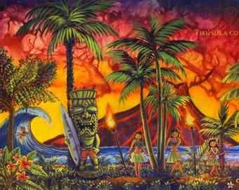 Rescued Tiki Hula Hot Lava Surf Hawaiian Island Art Painting CBjork PRINT