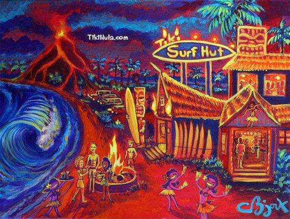 Tiki Hot Laughter Island Hawaii Tropical Painting CBjork Art Kitsch PRINT