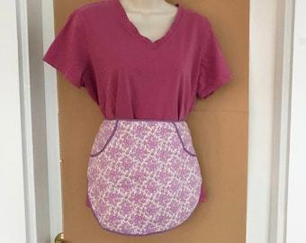 Vintage cafe apron, lavender floral print