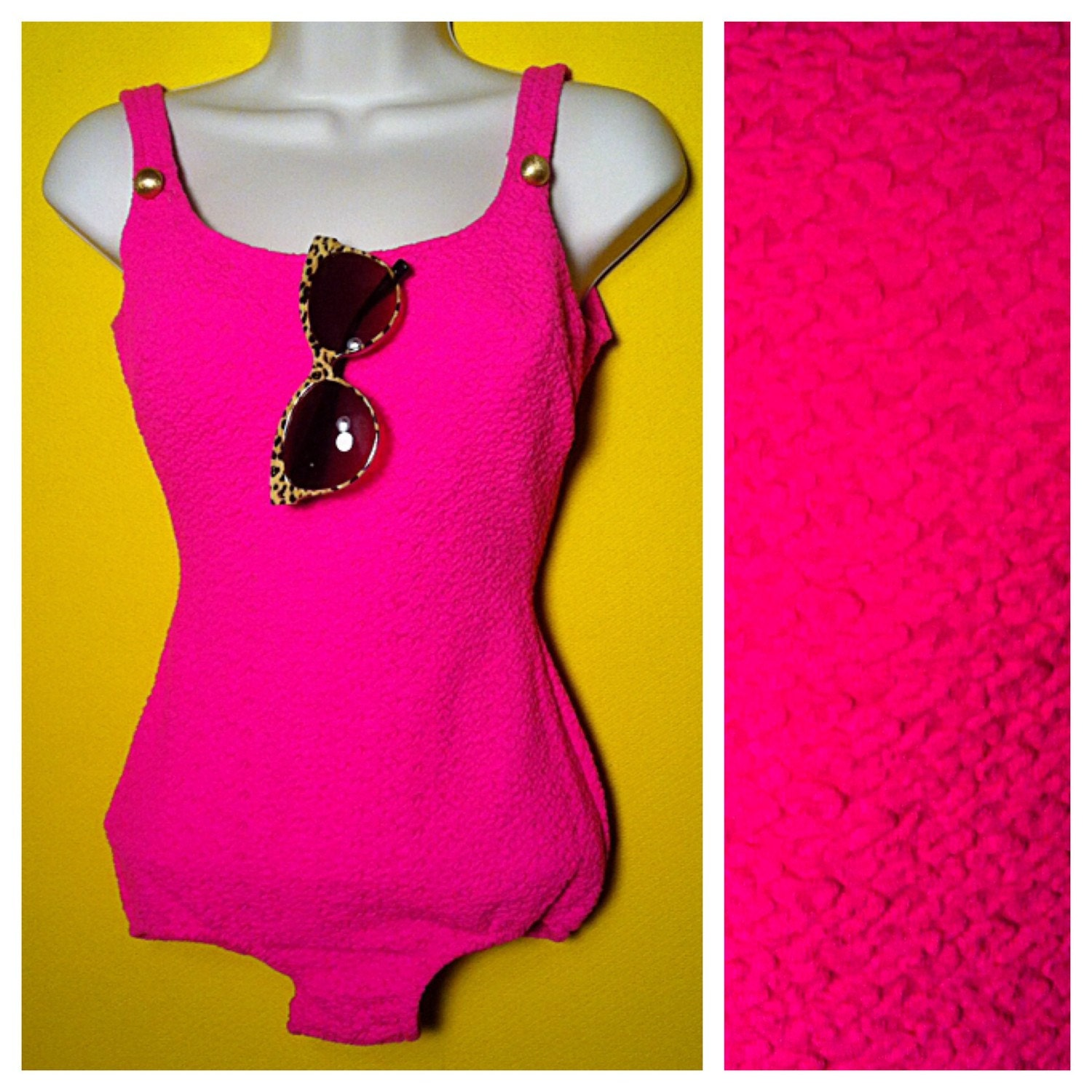 72b988821b77 Vintage  60s hot pink Bathing Suit Size Small