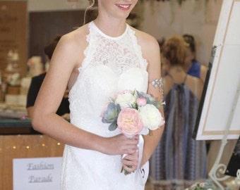 Lace Wedding Dress | Halter Bridal Dress | Bridal dress with Train