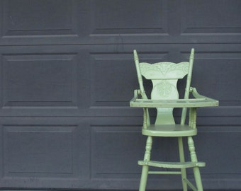 Antique Childu0027s High Chair Lime Green Painted Wooden Highchair Childrens Baby High Chair Distressed Farmhouse Paint Shabby Chic Jenny Lind & Painted high chair | Etsy