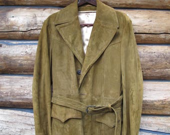 1970's Suede Coat Womens Sz Large Leather Fashion Jacket Brown Suede Unisex 70s Coat Boho Hippy Hipster Leather Jacket Wide Collar JEhJfcw