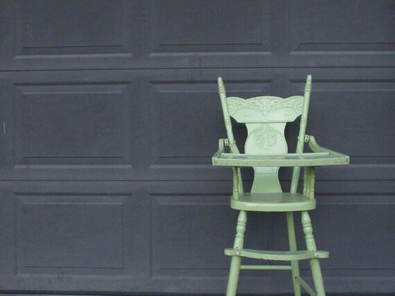 image 0 - Antique Child's High Chair Lime Green Painted Wooden Etsy