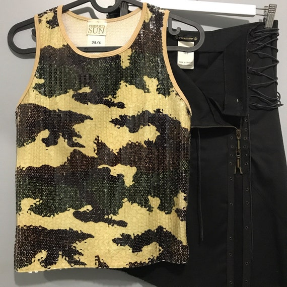 Plein sud camo sequin top