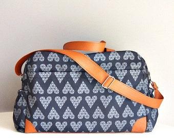 DIAPER BAG, Nappy bag, Triangle grey hearts on black background/ big diaper bag, weekender, sleepover bag, baby bag, mommy bag, changing bag