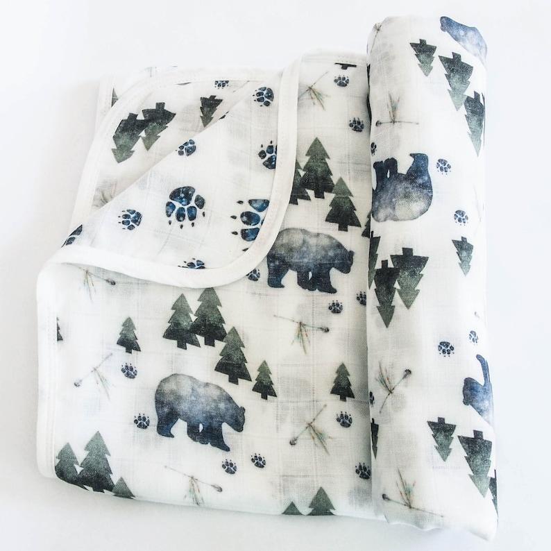bear paws baby swaddle blanket 2 layer muslin blanket pine trees woodland,baby wrap,bear blankie Tribal Bear Baby Blanket BEAR BLANKET