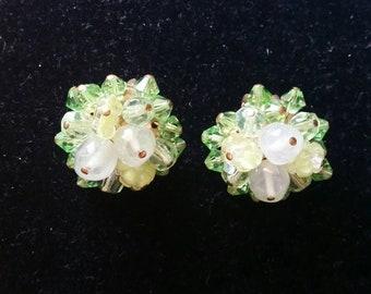 Green Crystal Cluster Earrings - vintage clip