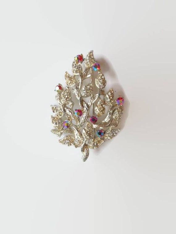 Coro Rhinestone Brooch - vintage red and white