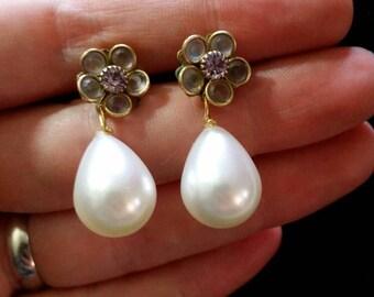 Floret Pearl Drop Earrings