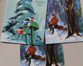 3 Christmas Cards Set - vintage mid century snowy woods