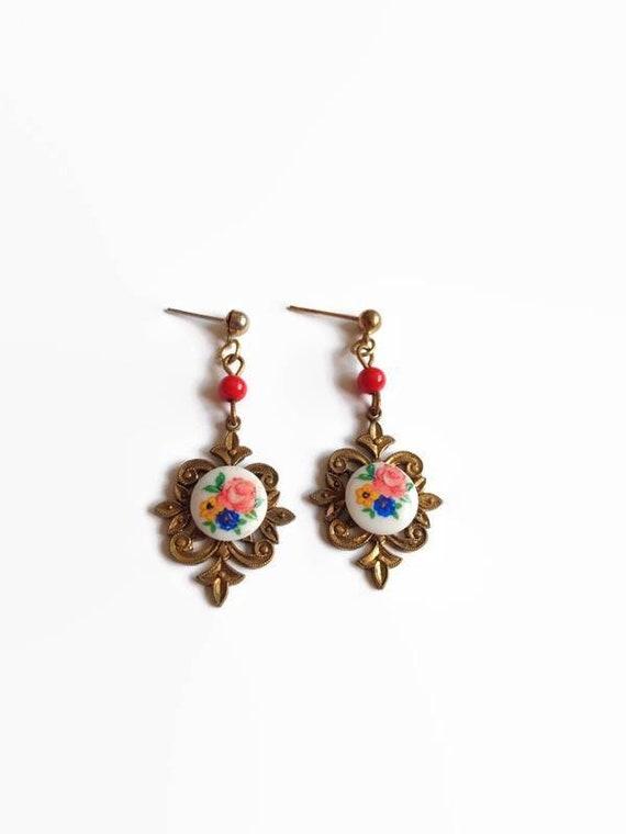 Porcelain Baroque Earrings - vintage floral gold t