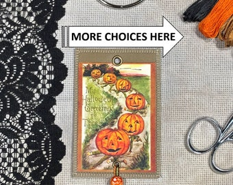 Halloween: Pumpkins & More Group - Floss Rings , Thread Drops, Floss Bling, Thread Jewelry, Mini Art Quilts for your Floss