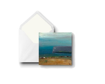 """Greetings Card Square: Cullercoats Harbour 5x5"""" 13 x 13 cm from Original Art by Eleanore Ditchburn UK Artist"""