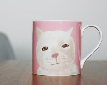 Pink 'Mr Marmalade' Fine Bone China Mug by Giddypup.