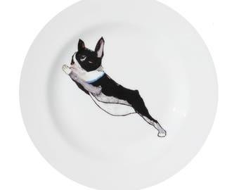 Boston Terrier 'Lean' Fine Bone China Plate by Giddypup