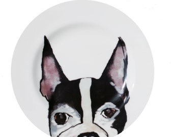 Boston Terrier 'Face' Fine Bone China Plate by Giddypup