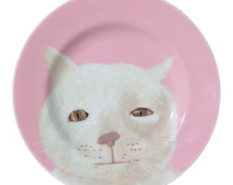 Pink 'Mr Marmalade' Fine Bone China, full colour Plate by Giddypup