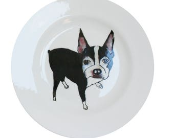 Boston Terrier 'Stand' Fine Bone China Plate by Giddypup