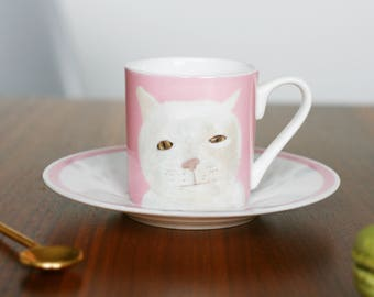 Pink 'Mr Marmalade' Fine Bone China Espresso Cup and Saucer by Giddypup
