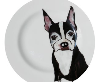 Boston Terrier 'Sit' Fine Bone China Plate by Giddypup